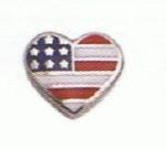 American Flag Heart - Enamel Charm